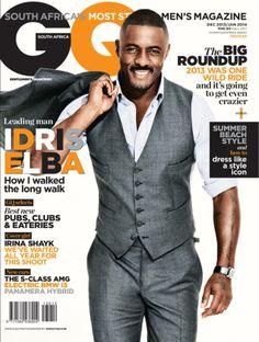 Idris Elba for GQ Magazine South Africa December 2013 Idris Elba, Gq Magazine Covers, Magazine Cover Design, Gq Men, Cover Boy, Most Stylish Men, Celebrity Magazines, Male Fashion Trends, Men Fashion