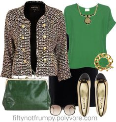 """""""Emerald and Tweed"""" by fiftynotfrumpy on Polyvore"""