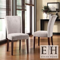 ETHAN HOME Silver Gray Chenille Parson Chairs (Set of 2)