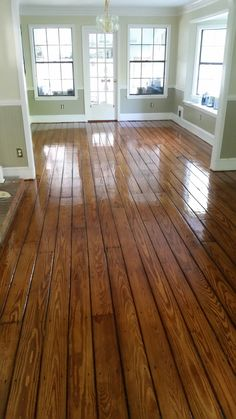 Pine with Early American and Gunstock Newnan Ga. Pine Wood Flooring, Pine Floors, Grey Kitchen Designs, Room Colors, Paint Colors, Modern Mountain Home, Luxury Bedroom Design, Early American, Luxurious Bedrooms