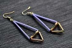 Geometric Dangle Earrings Periwinkle and Brass Saucer Disc