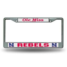 Rico University of Mississippi Chrome License Plate Frame (Blue/Medium Red, Size ) - NCAA Licensed Product, NCAA Novelty at Academy Sports