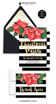 Gorgeous black & white striped Christmas party invitations with bold red and green poinsettia watercolor flower and gold glitter details. Brush lettering, fully customized, black v-flap envelope & envelope liner also available. Matching folded thank you Christmas card available as well, at digibuddha.com