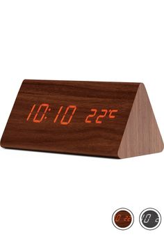 MADE Triangle Digital Alarm Clock, Walnut Brown. Express delivery. Odette Clocks Collection from MADE.COM...