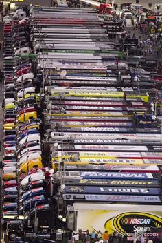 Haulers at Bristol, so close ! - This is not a real a truck stop. It is at Bristol Motor Speedway in Bristol, Tennessee   Photo with Pin-It-Button on http://www.motorsport.com/nascar-cup/photo/main-gallery/haulers-18/