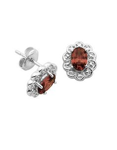 Lord & Taylor January Birthstone Garnet Cubic Zirconia and Sterling Si