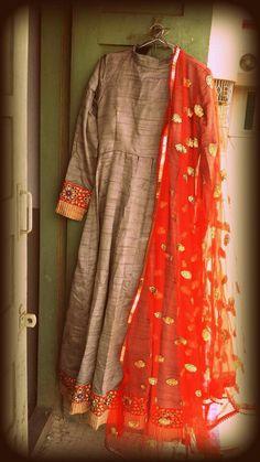 Raw silk anarkali with net dupatta