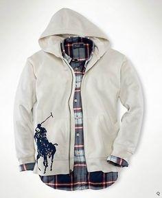 399f67a9eba Ralph Lauren Mens Big Pony Full-Zip Hoodies Antique Cream Ralph Lauren  Hoodie
