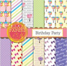 Birthday digital paper Birthday party celebration balloons digital paper 12 patterns #etsymntt #paper