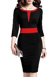 Wear To Work Dresses - WOOSEA Women's Sleeve Colorblock Slim Bodycon Business Pencil Dress at Women's Clothing store: Office Dresses For Women, Ladies Dresses, Clothes For Women, Nice Dresses, Dresses For Work, Pretty Dresses For Women, Trendy Dresses, Mode Glamour, Elegant Fashion Wear