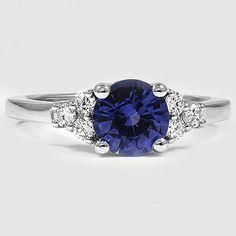 Platinum Sapphire Trio Diamond Ring // Set with a 7mm Blue Round Sapphire