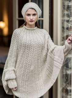 Hania by Anya Cole Knit Vest Pattern, Poncho Knitting Patterns, Hand Knitting, Hand Knitted Sweaters, Knitted Poncho, Knit Fashion, Sweater Fashion, Poncho Sweater, Shawls And Wraps