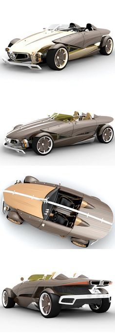 ✤ The Mercedes-Benz RECY concept was an entrant in the 2006 LA Design Challenge which was based around the idea of environmentally friendly vehicles.    Recyclable wood, glass, alloys, and rubber could be used in the roadsters construction. To keep the occupants safe a high-strength frame and laminated wood shell are incorporated into the RECY's design.