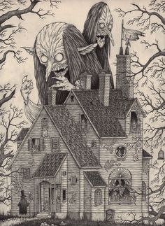 Edward Gorey is one of my favorite artists. What if he had illustrated Lovecraft's stories or created artwork with Lovecraftian themes? The art of John Kenn Mortensen might be the result. Art And Illustration, Monster Illustration, Edward Gorey, Monster Art, Monster Drawing, Arte Horror, Horror Art, Don Kenn, Dibujos Dark