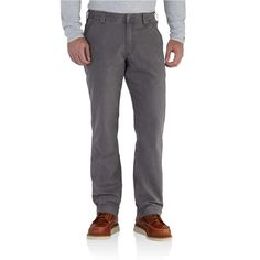 7a701179 Carhartt Men's 30 in. x 30 in. Gravel (Grey) Cotton/Spandex Rugged Flex  Rigby Dungaree Pant
