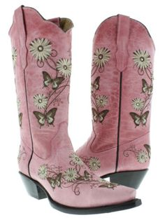 Womens-Pink-Butterfly-Flowers-Leather-Western-Cowboy-Boots-Rodeo-Cowgirl