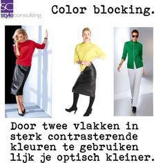 Tips/ advies/ kledingtips/ figuurtips voor de kleine vrouw | Style Consulting Color Blocking, How To Make, Outfits, Polyvore, Fashion, Outfit, Moda, La Mode, Fasion