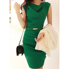 Solid Color Sleeveless Cowl Neck Belt Design Trendy Women's Dress, GREEN, L in Dresses 2014 | DressLily.com