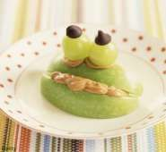 Peanut Butter Apple Frog.  Because a little creativity is always rewarded with smiles and lots of giggles.