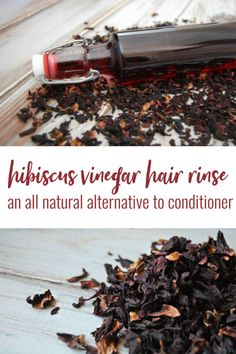 Hibiscus Vinegar Hair Rinse- Hibiscus has been said to help prevent premature graying, encourages hair growth, conditions hair making is more smooth and shiny, and gives your hair bounce! Homemade Shampoo, Face Scrub Homemade, Homemade Skin Care, Diy Skin Care, Homemade Conditioner, Vinegar Hair Rinse, Vinegar For Hair, Natural Beauty Recipes, Green Living Tips