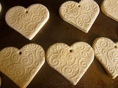 Salt Dough Hearts (maybe for seating placement...attach little paper cards with names and table numbers?)