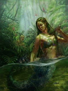 (Lara, Lady of the Waters) - In Brazil there is folklore about Iara, who is a mermaid or a water nymph  depending on the context or story.  Lara means something like Lady of the Lake or Water Queen.  According to legend she is an immortal freshwater nymph in the appearance of a beautiful young woman with green hair and light skin who sits on a rock by the river combing her hair or dozing under the sun. When she feels a man around she sings to gently to lure him to her, to live out his life…