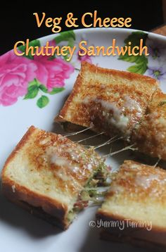 & Cheese Chutney Sandwich Delicious easy sandwich made using green chutney, veggies and cheese. This sandwich is so refreshing and taste good. Perfect to put in your kids lunch box.Delicious easy sandwich made using green chutney, veggies and cheese. Chutney Sandwich, Veg Sandwich, Sandwich Recipes, Snack Recipes, Cooking Recipes, Paneer Sandwich, Baking Snacks, Tea Snacks, Lunch Box Recipes