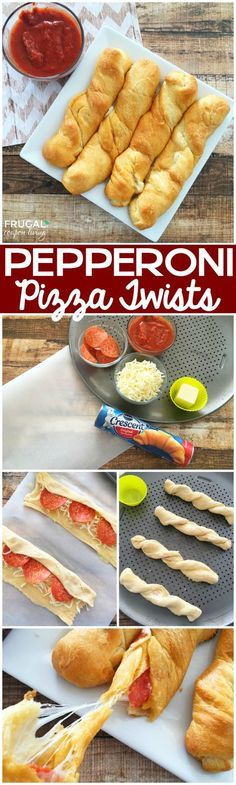Homemade Pepperoni Pizza Twists made with Crescent Rolls on Frugal Coupon LIving. Homemade Pepperoni Pizza Twists made with Crescent Rolls on Frugal Coupon LIving. Pizza Twists, Snacks Für Party, Snacks List, Party Appetizers, Kid Party Foods, Health Appetizers, Toothpick Appetizers, Party Entrees, Cold Appetizers