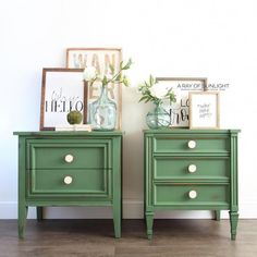 Delightful bedroom furniture placement - read our website for additional innovations! #bedroomfurnitureplacement Diy Furniture Flip, Green Furniture, Colorful Furniture, Furniture Makeover, Bedroom Furniture, Vintage Nightstand, Wood Nightstand, Vintage Furniture, Painted Furniture