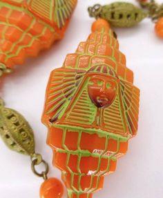 VINTAGE CZECH EGYPTIAN REVIVAL NEIGER ART DECO PHARAOH GLASS BEAD NECKLACE  | eBay