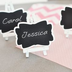 "Framed Chalkboard Place Cards by Beau-coup. Product Specs      Dimensions: 3.25""L x 2.75""W x 1.75""H     Minimum Order: 6      Easel is included. - $1 each."