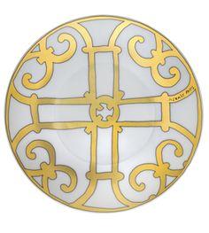 Hermes Balcon Du Guadalquivir gold porcelain tableware plate 17cm Harlequin London