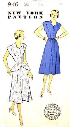 Vintage 1950s Sewing Pattern Rockabilly Marilyn Monroe Shoe String Dress Size 14
