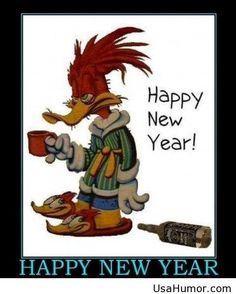 Funny duck cartoon happy new year