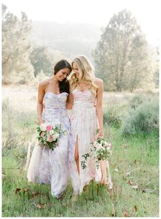 Strapless floral bridesmaid dresses by PPS Couture by Plum Pretty Sugar. Image by Jose Villa.