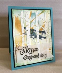 Male card using Sky Is The Limit SAB stamp set from Stampin Up! Woodland textured embossing folder. design by Ann Craig