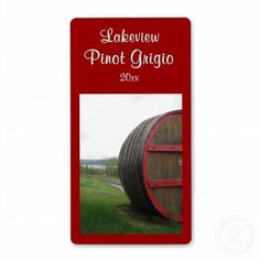 Wine Cask Homemade Wine Label ~ Wine Cask Homemade Wine Label with customizable text, featuring a large wine cask with Keuka Lake, one of New York State's Finger Lakes, in the background.