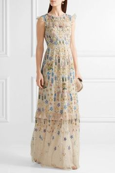 £350, NEEDLE & THREAD Flowerbed ruffle-trimmed embroidered tulle gown, net a porter