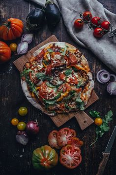 Pizza with Prosciutto & Mixed Vegetables