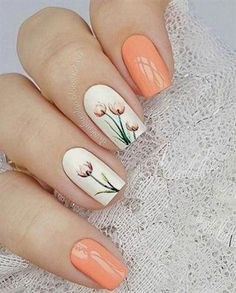 Flower Nail Designs for Spring and Summer 2019 - Nageldesign 2018 Nail Art Designs, Flower Nail Designs, Nail Designs Spring, Nails Design, Spring Design, Tulip Nails, Flower Nails, Spring Nail Art, Spring Nails