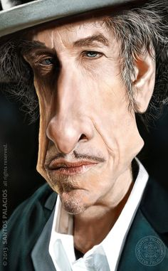 Caricature de Bob Dylan par Santos Palacios