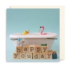 Wenskaart A Flamingo A Day : Happy You Day