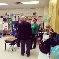 Amy And Brian Speaking With Kindergarten Teacher, Mrs. Miller-Johnson