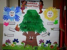 1.sınıf el kalıbı ile orman haftası panosu