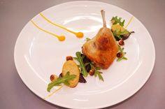 Confit duck leg, pumpkin puree, roasted beetroot, kipfler potatoes, toasted hazelnuts - The ChefsTalk Project