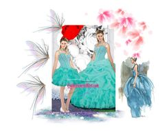 """Elegant Straps Ball Gown Detachable Quinceanera Dresses In Turquoise"" by nataliy0527 ❤ liked on Polyvore"