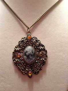 Gold Chain Cameo Necklace by ErinMichellesJewelry on Etsy