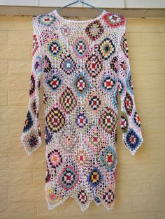Handmade Crochet Granny Square Short Dress with Long Sleeves [CDS06] - $49.00 : Tina Crochet Studio, Fashion Anniversary Gifts for Her Handmade Crochet Women Bohemian Accessory