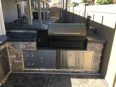 custom built bbq island with built in traeger grill Outdoor Kitchen Countertops, Backyard Kitchen, Summer Kitchen, Outdoor Kitchen Design, Outdoor Kitchens, Outdoor Spaces, Outdoor Living, Kitchen Grill, Built In Outdoor Grill