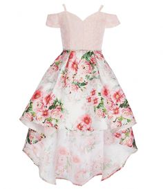 Shop for Rare Editions Big Girls Solid/Floral Extreme Hi-Low Dress at Dilla… Cute Prom Dresses, Hi Low Dresses, Grad Dresses, Homecoming Dresses, Pretty Dresses, Sexy Dresses, Beautiful Dresses, Summer Dresses, Fancy Dresses For Girls